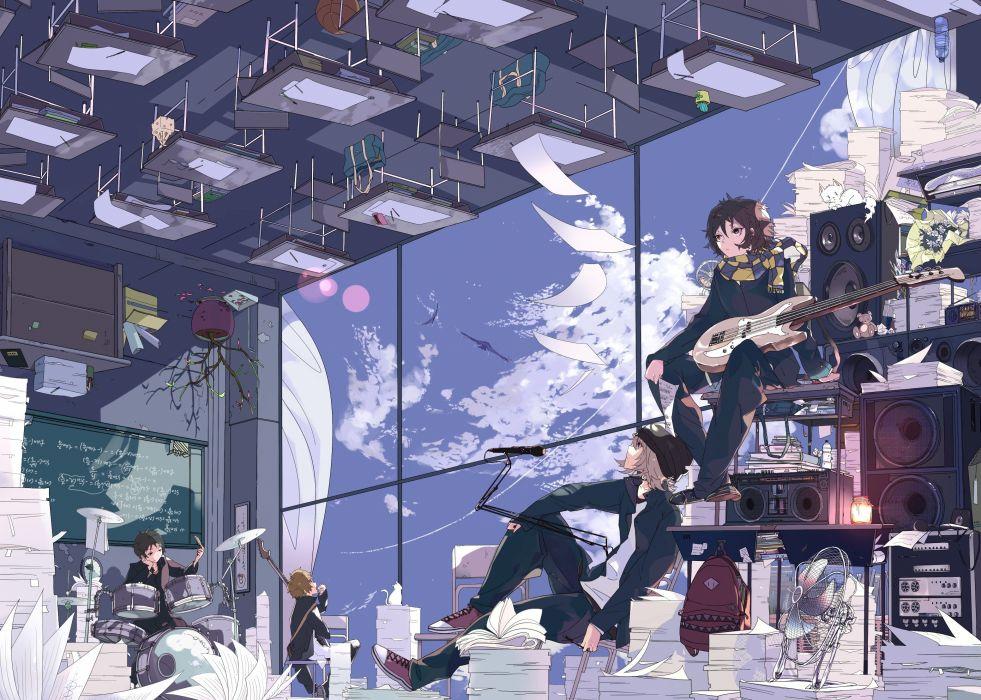 abstract speakers school guitars drums artwork anime anime boys anime girls original characters wallpaper