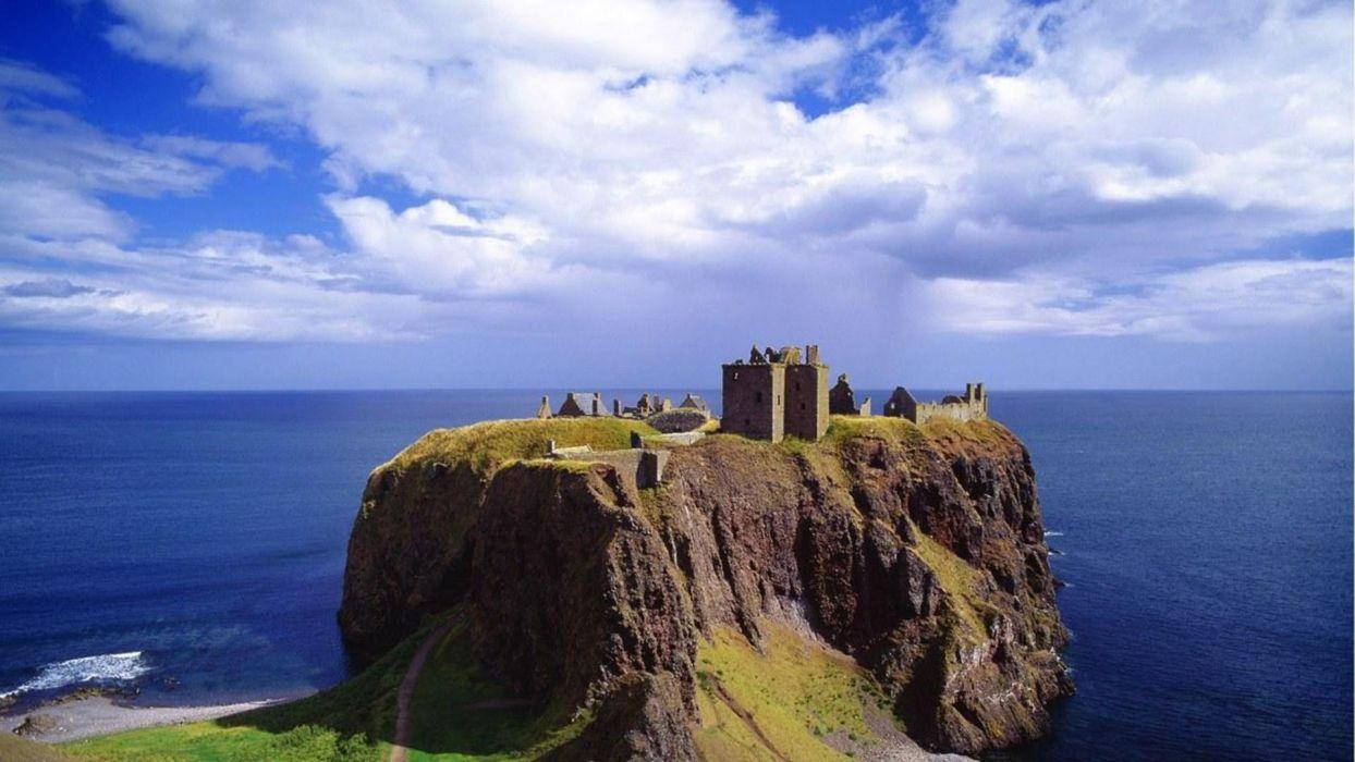 landscapes Scotland Dunnottar castle wallpaper