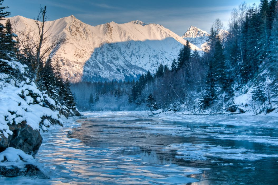 Alaska river winter mountain forest landscape wallpaper