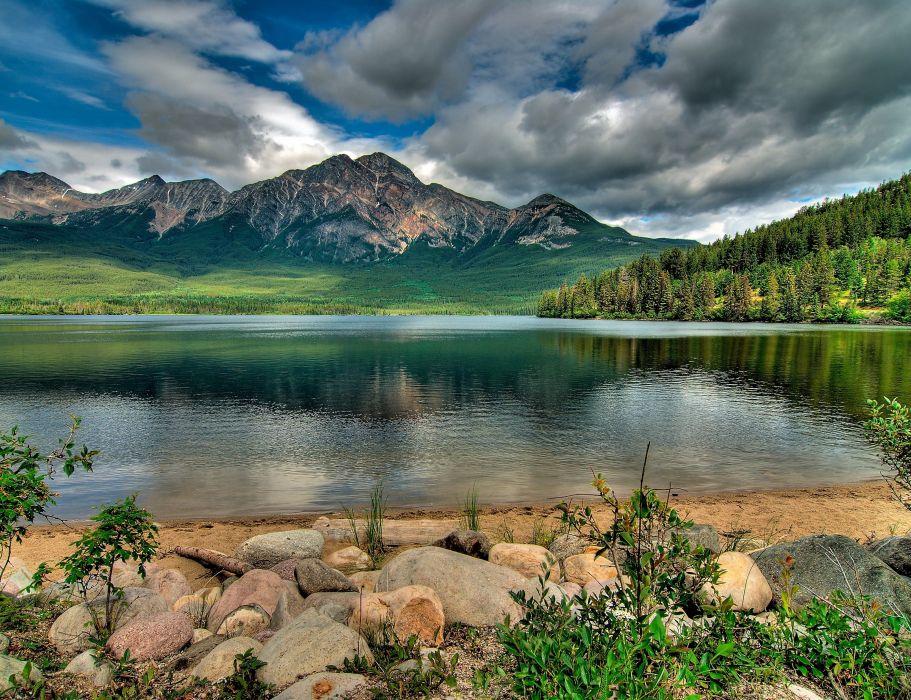 Alberta lake mountain wallpaper