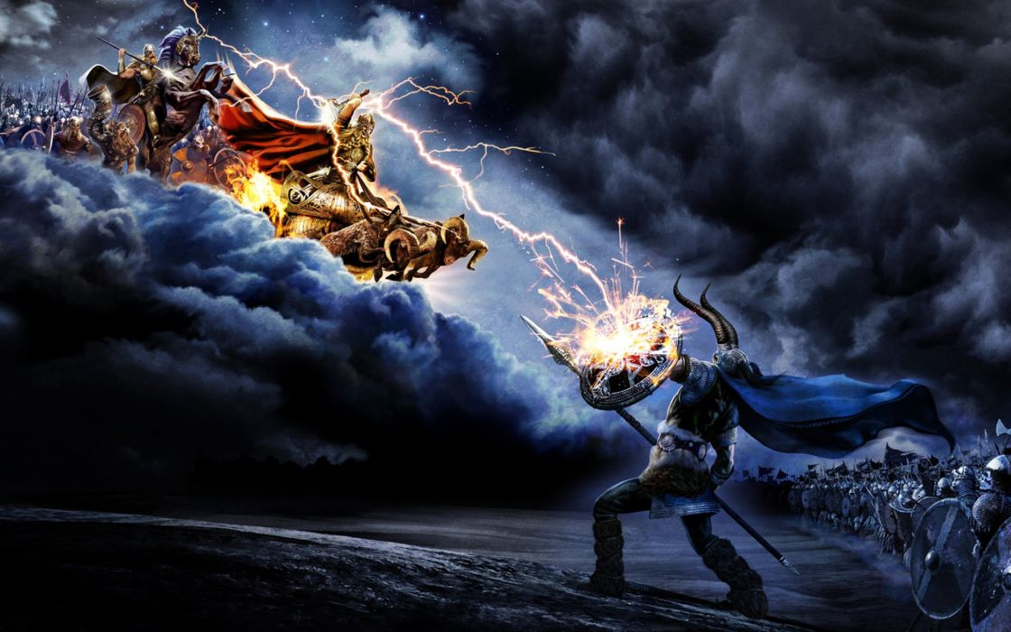 Amon Amarth Battles Monsters Lightning Music Fantasy death metal warrior battle wallpaper