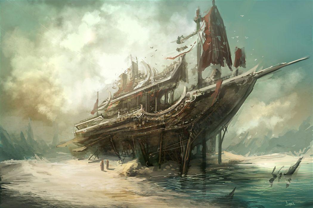 art beach skeleton ship sea wallpaper