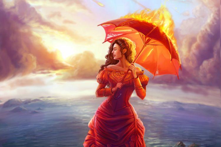Art girl profile face painting umbrella fire wallpaper