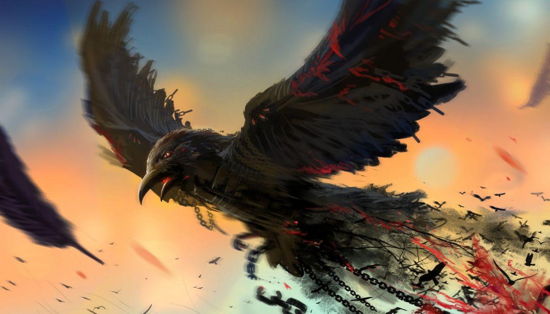 bird chain art raven dark blood wallpaper
