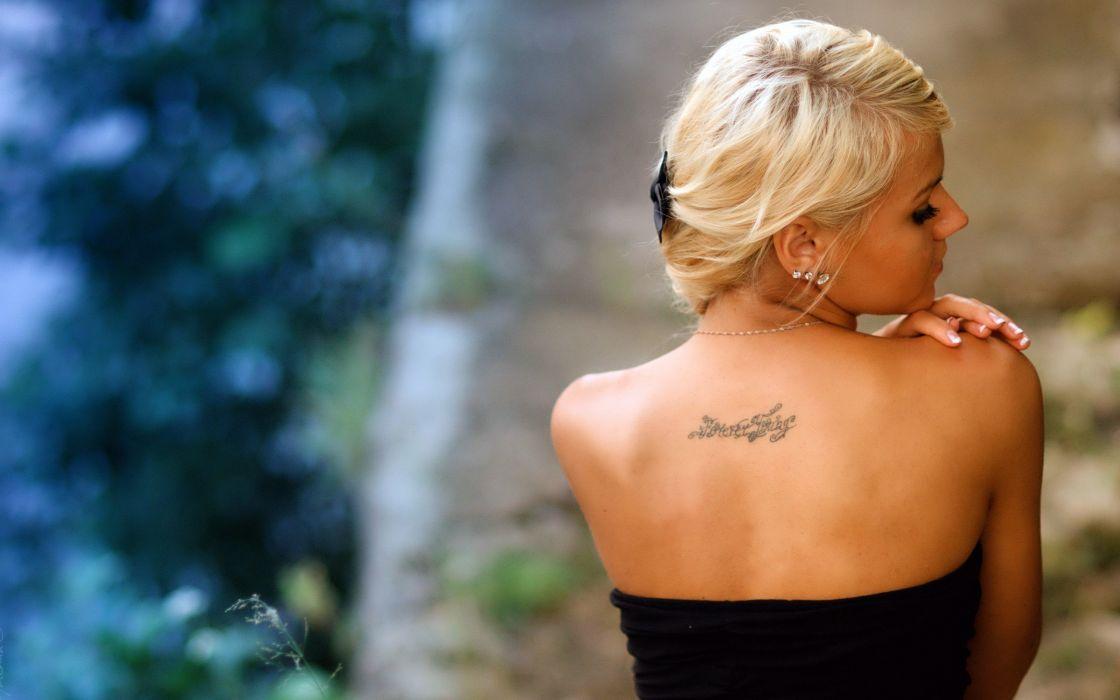 blonde girl tattoo mood wallpaper