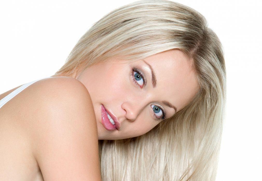 blonde beautiful girl blue eyes wallpaper