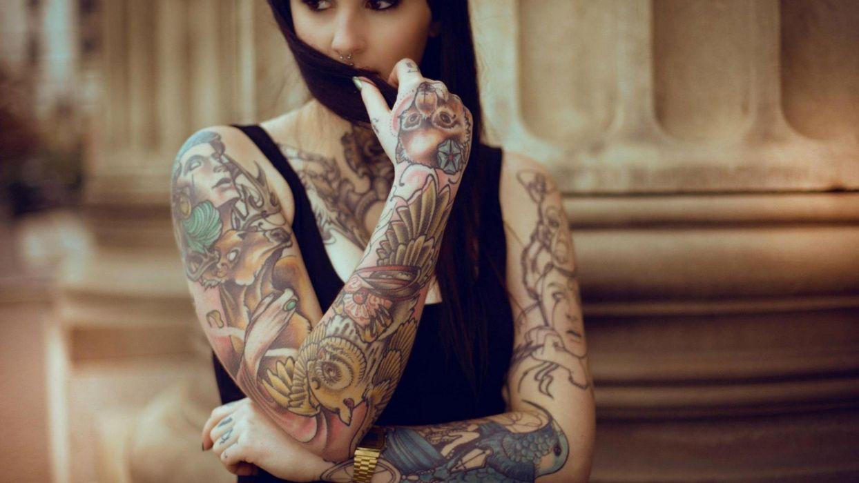 Brunette Tattoo wallpaper