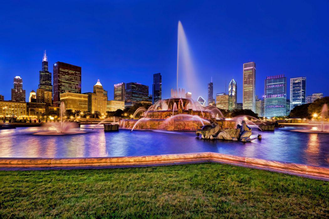 Buckingham Fountain illuminated at dusk Chicago   t wallpaper