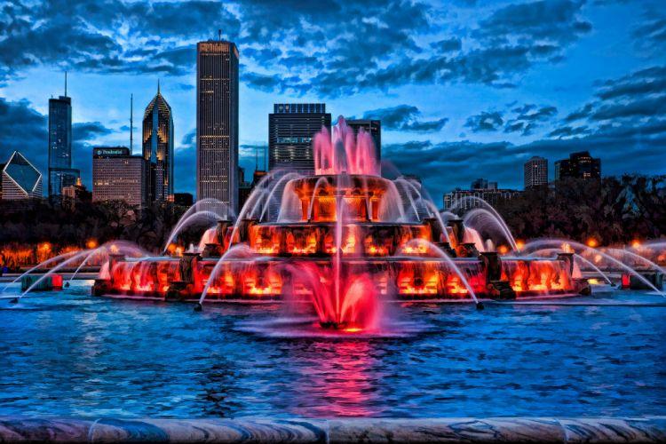 Buckingham Fountain illuminated at dusk Chicago g wallpaper