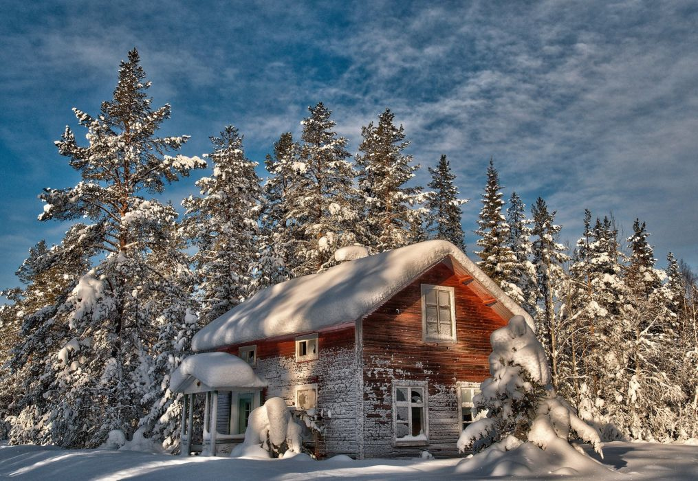 cabin tree winter old house trees snow wallpaper