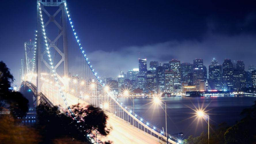 california bay bridge San francisco night wallpaper