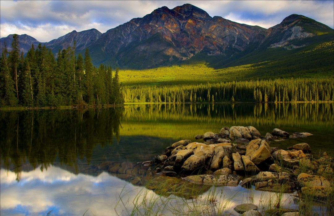 Canada lake mountains landscape forest reflection wallpaper