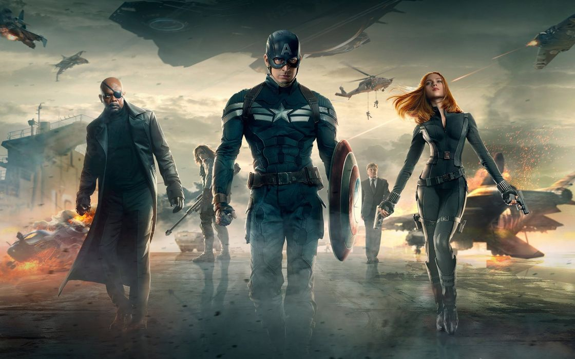 Captain America Scarlett Johansson Samuel L Jackson Marvel The Winter Soldier Black Widow Nick Fury wallpaper