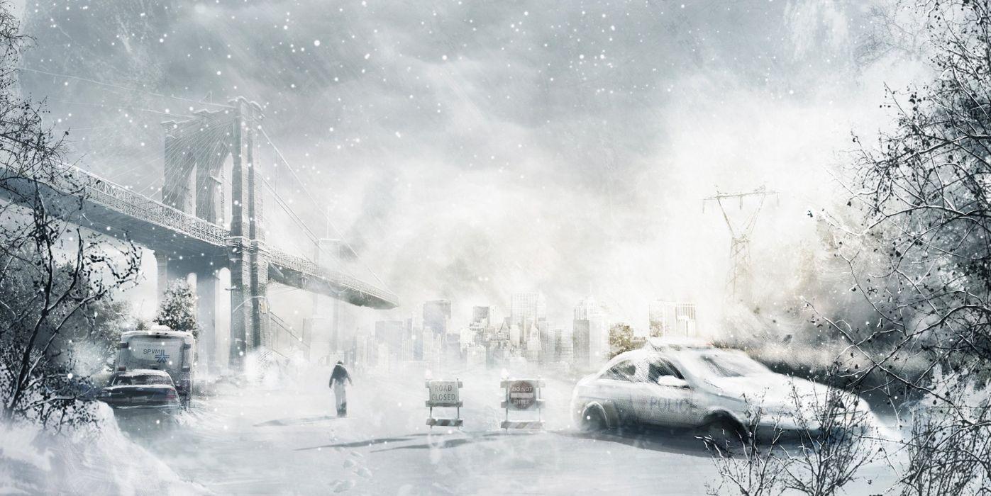 car city snow man winter art police storm bridge wallpaper