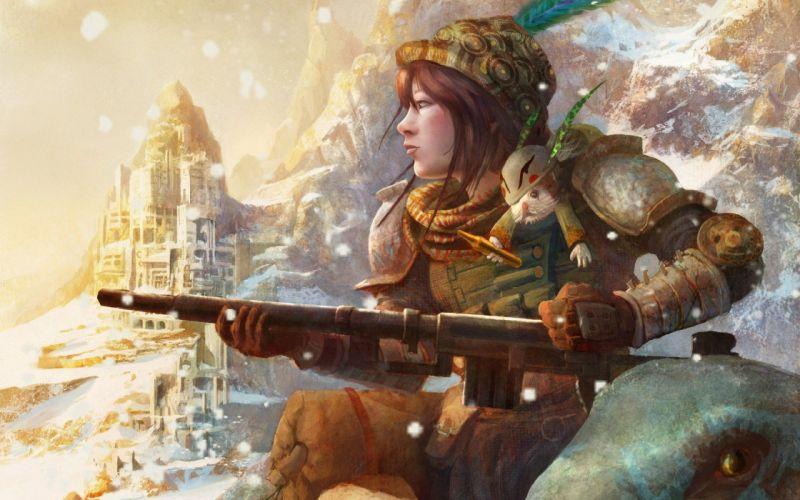 castle girl warrior weapon gun wallpaper