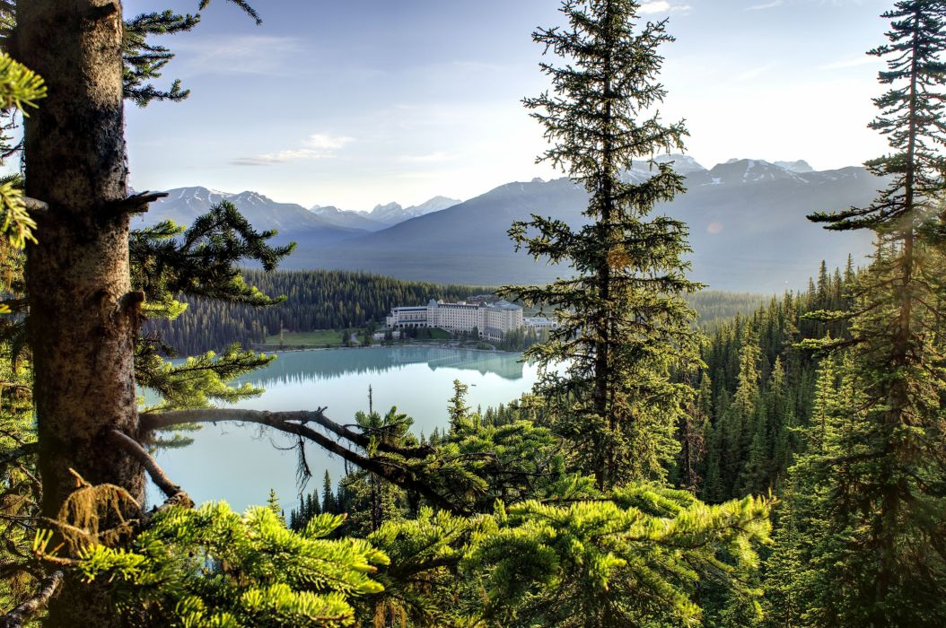 Chateau Lake Louise Canada forest wallpaper