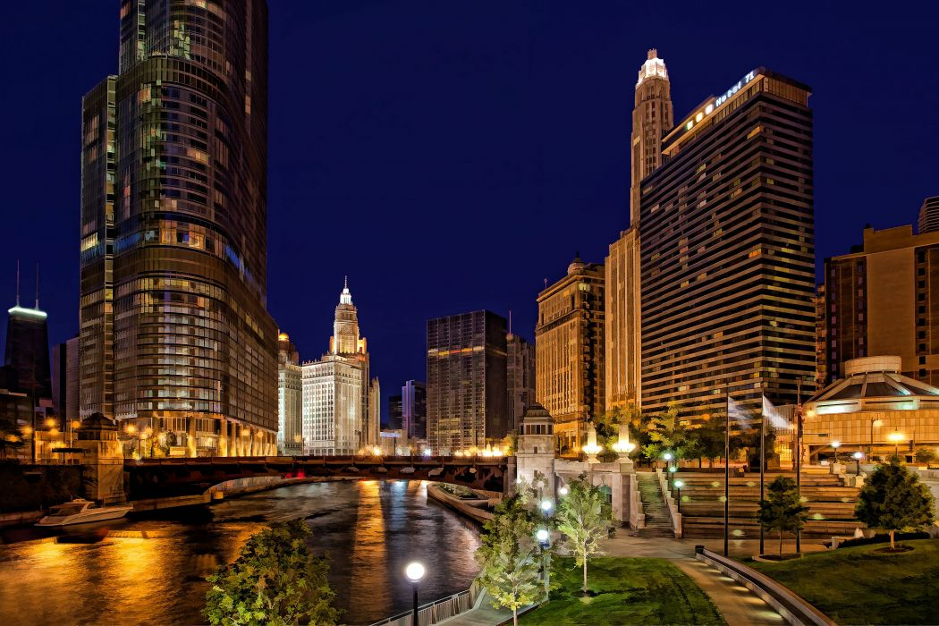 Chicago usa city night f wallpaper