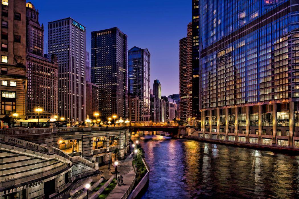 Chicago usa city night wallpaper