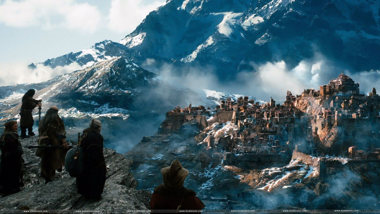 city mountain hobbit lord rings lotr fantasy movie film smog desolation wallpaper