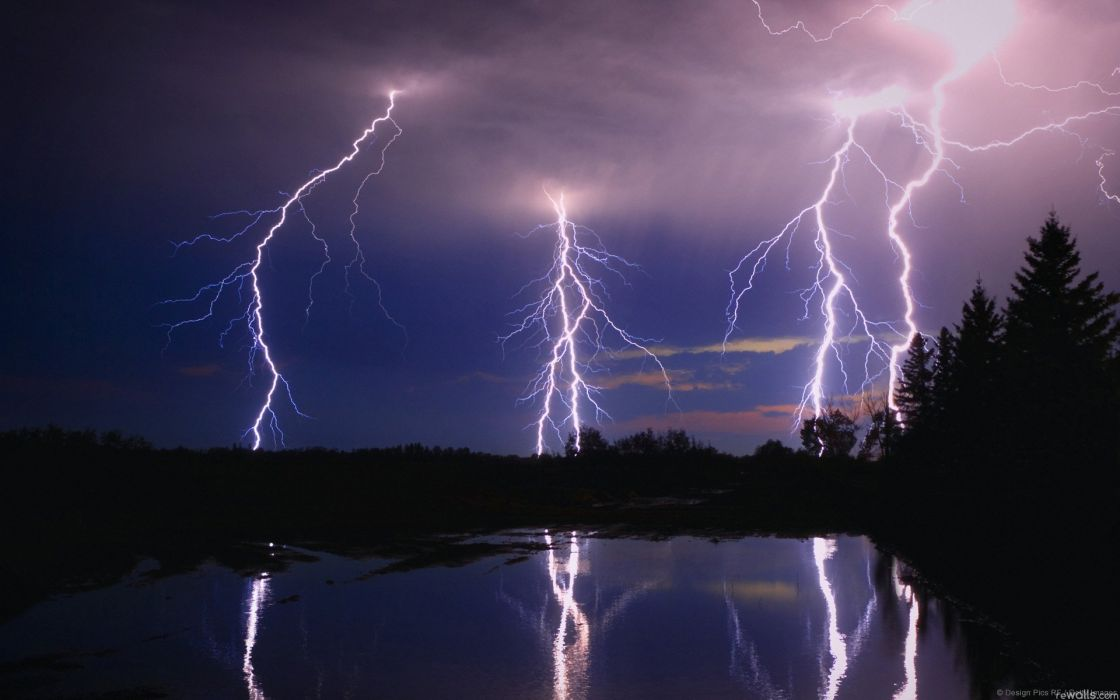 clouds lightning pond reflection night   f wallpaper