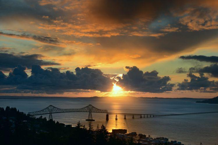 clouds sunset sun bay bridge wallpaper