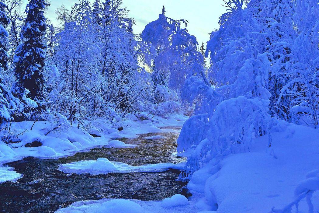 cold winter river snow landscape wallpaper