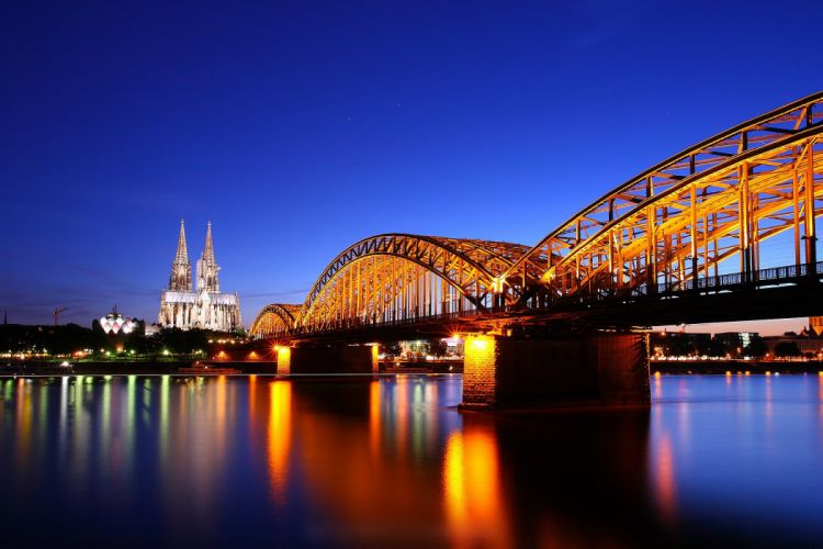 Cologne Cathedral at Twilight Germany bridge reflection wallpaper