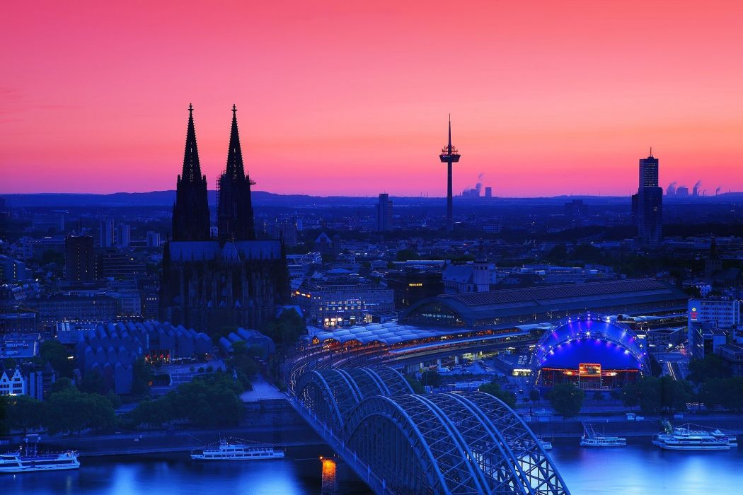 Cologne Cathedral at Twilight Germany city bridge wallpaper
