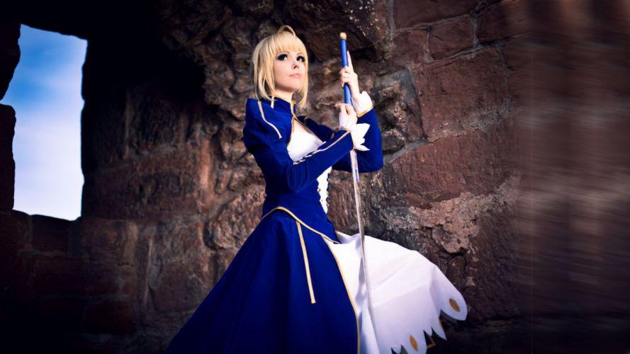 cosplay asian girl uniform costume fantasy weapon sword f wallpaper