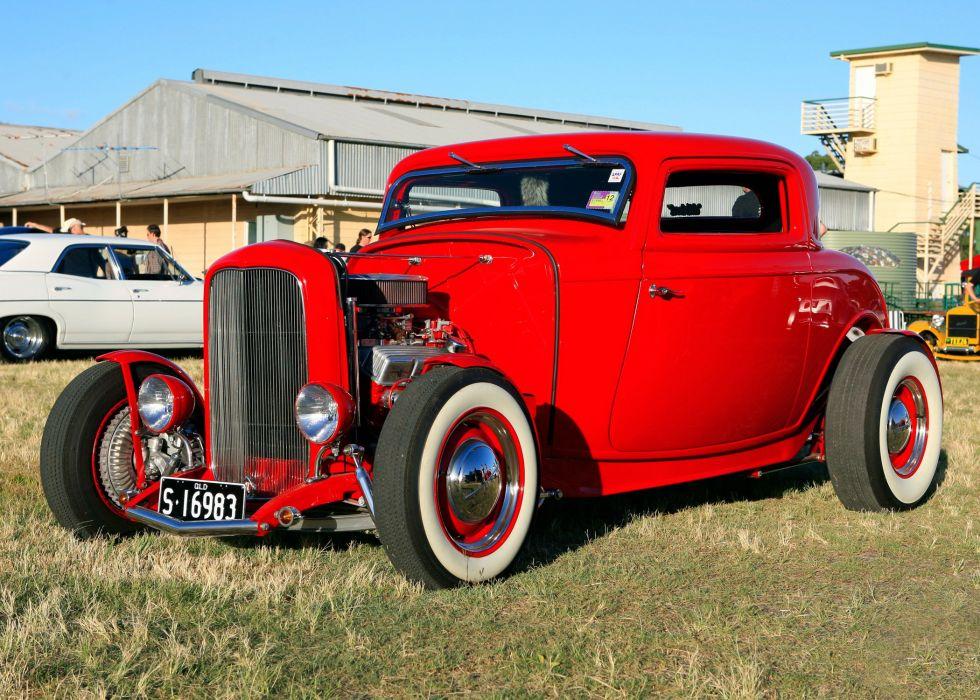 coupe race ford coupe hot red 1932 Ford rods retro wallpaper