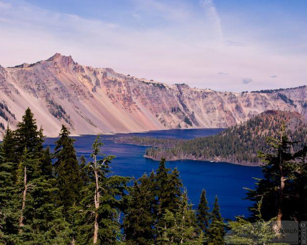 Crater Lake Oregon lake mountains landscape wallpaper