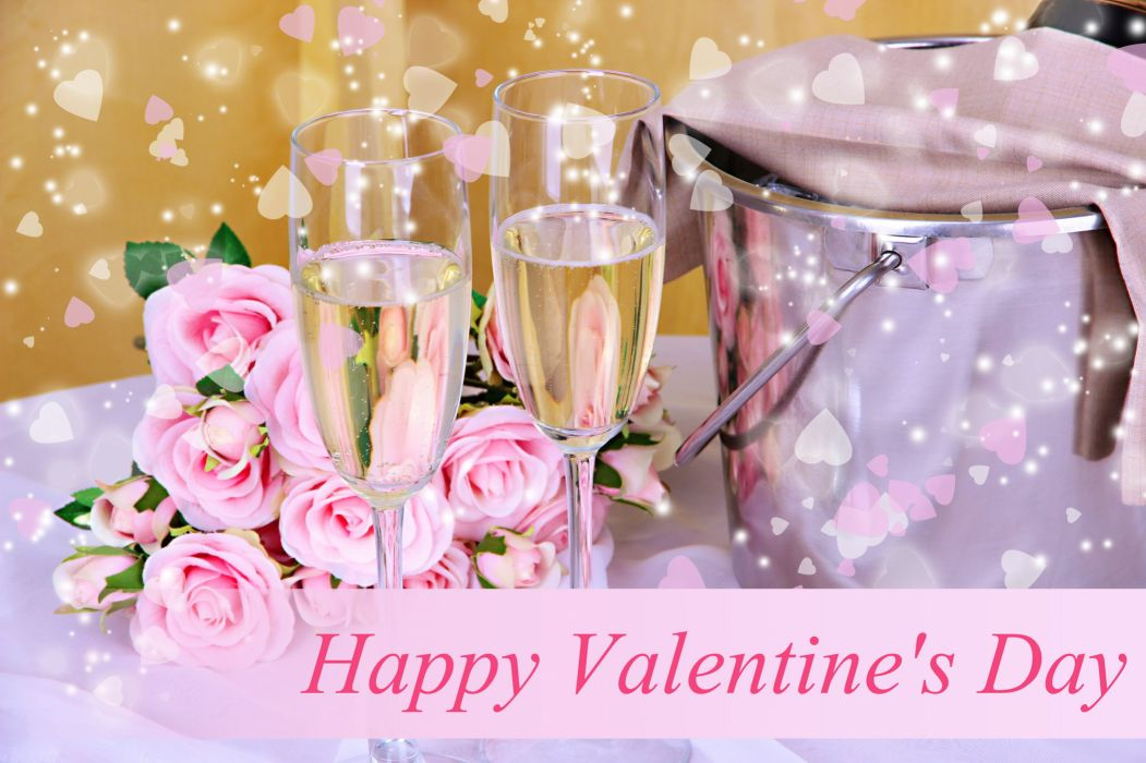Drinks Champagne Roses Holidays Stemware Food Flowers wallpaper