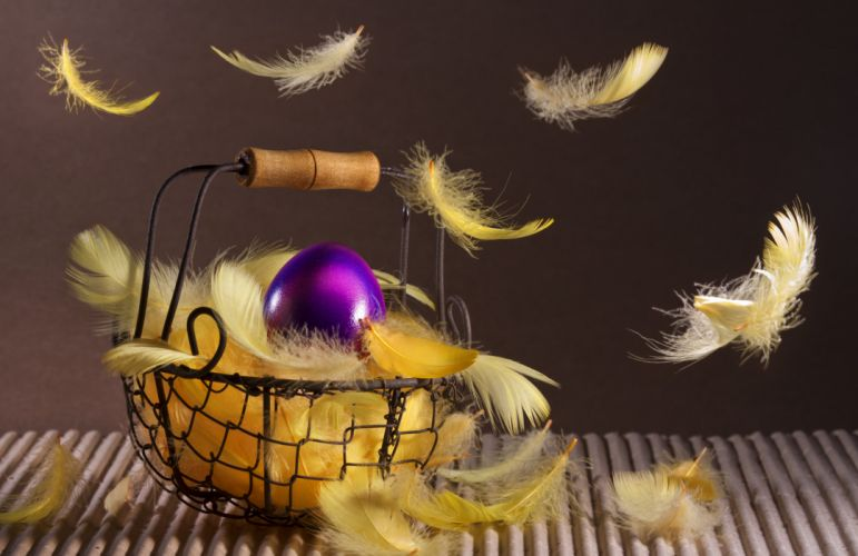 easter basket feathers basket bokeh wallpaper