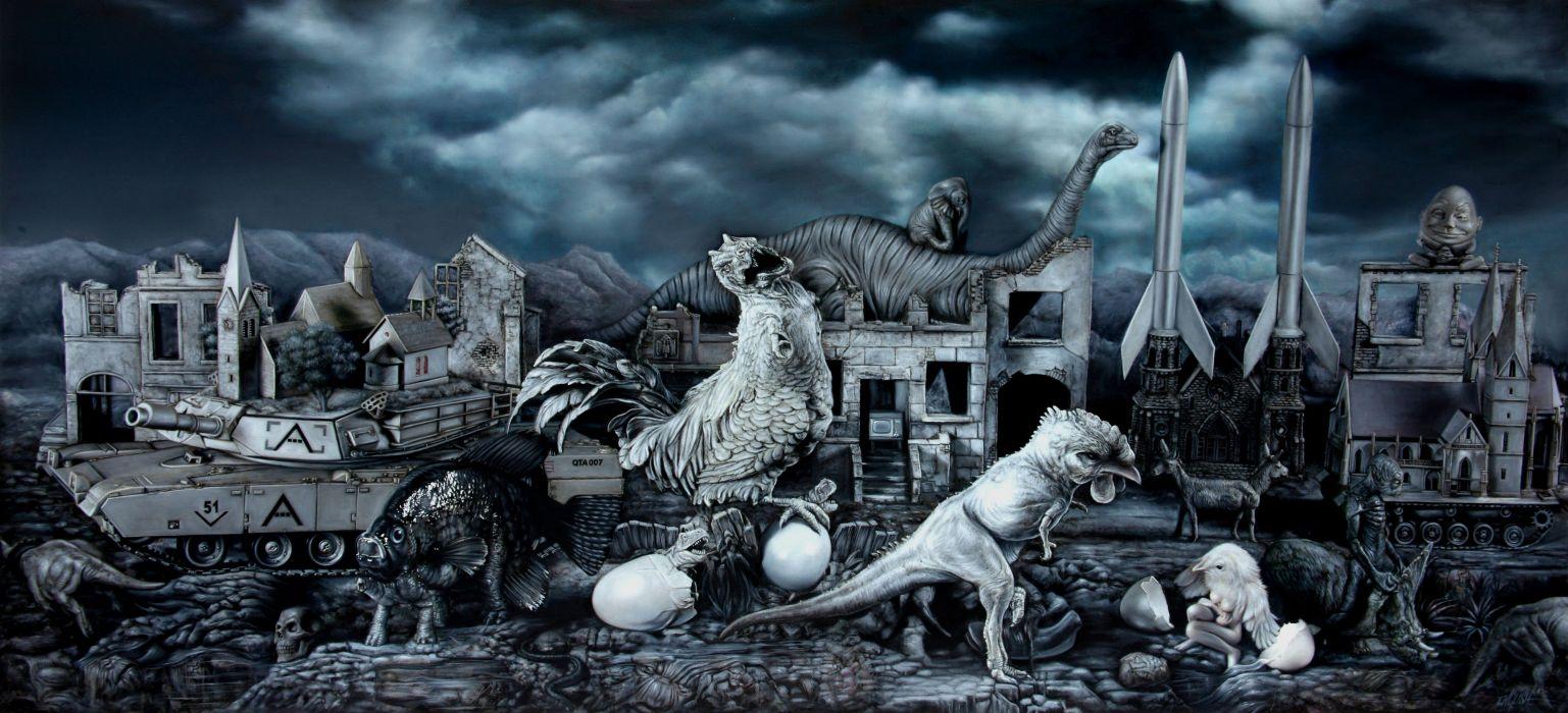 egg chicken bird dark fantasy dinosaur psychedelic wallpaper