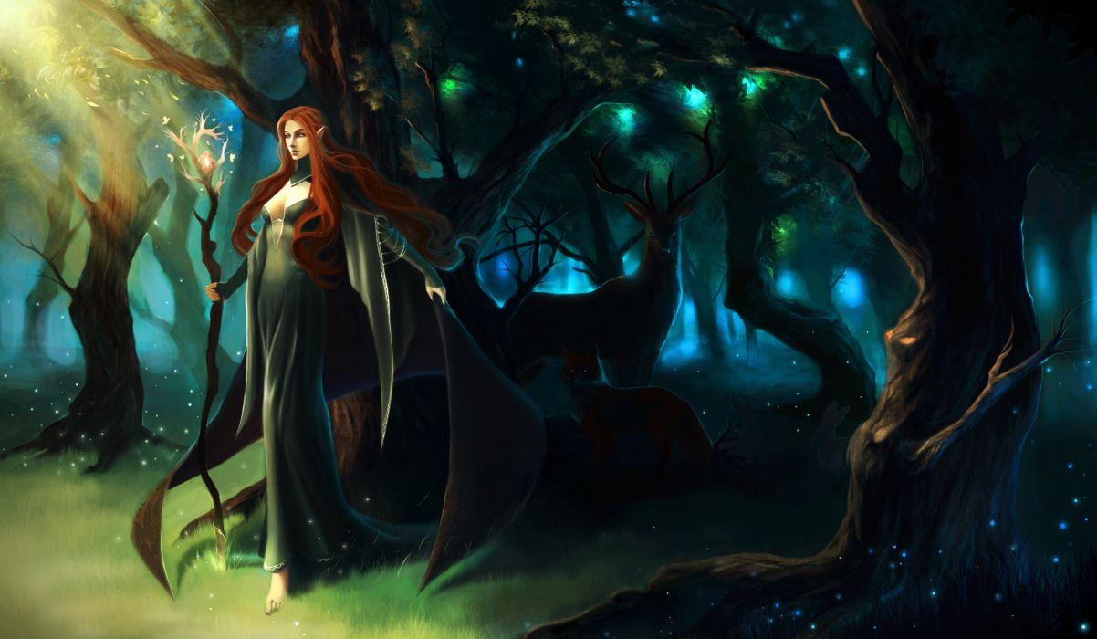 Elves Magic Deer Mage Staff Fantasy Girls elf wallpaper
