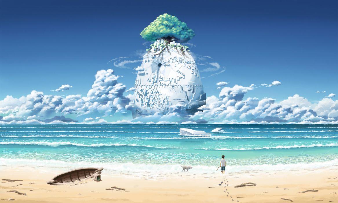 Fantastic world Sea Coast Beach Clouds Fantasy island wallpaper