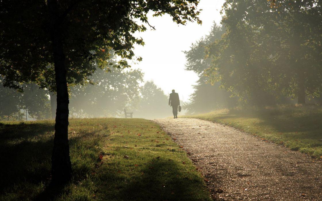 fog park path people mood wallpaper