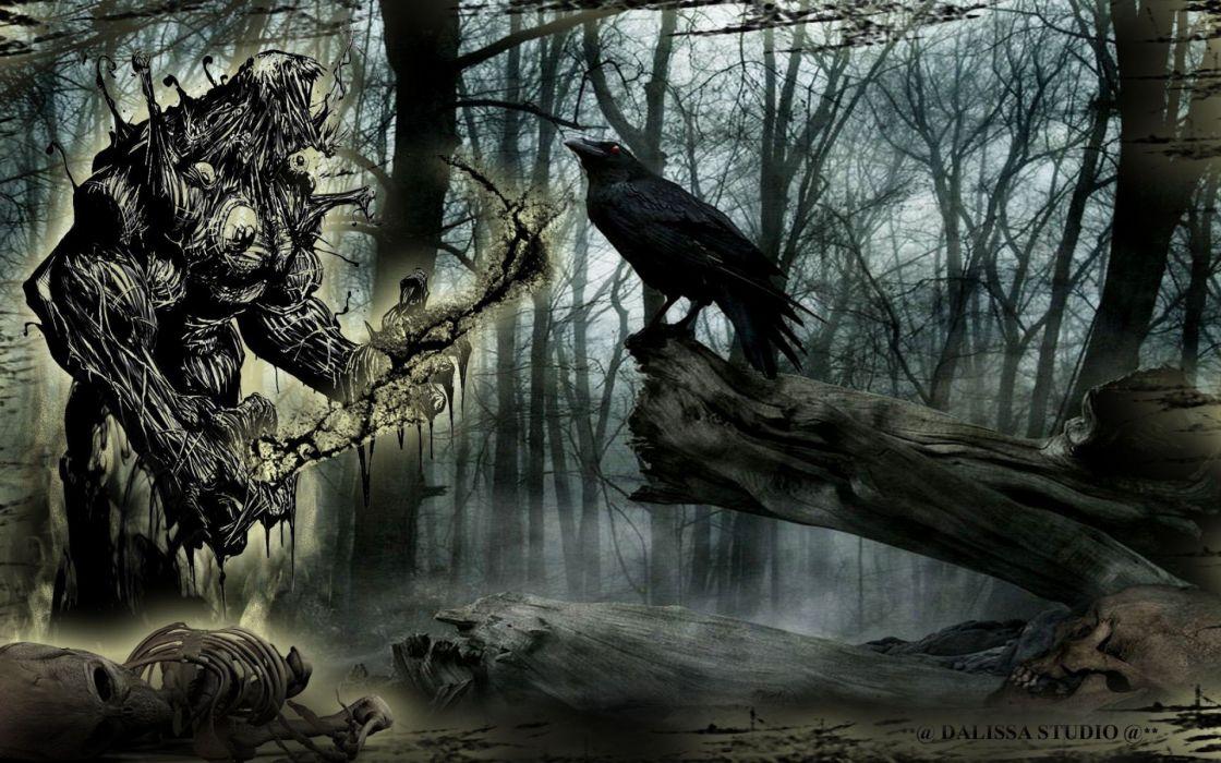 forest raven monster fantasy dark creature wallpaper