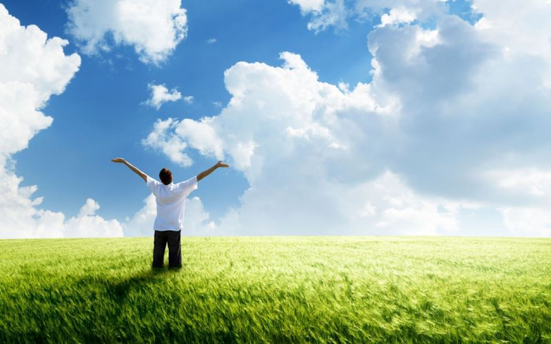 Freedom green land clouds wind green field wheat horizon blue sky the mood man wallpaper