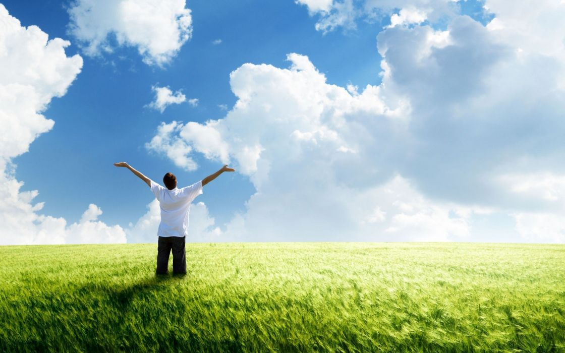 Freedom green land clouds wind green field wheat horizon blue sky the mood man wallpaper