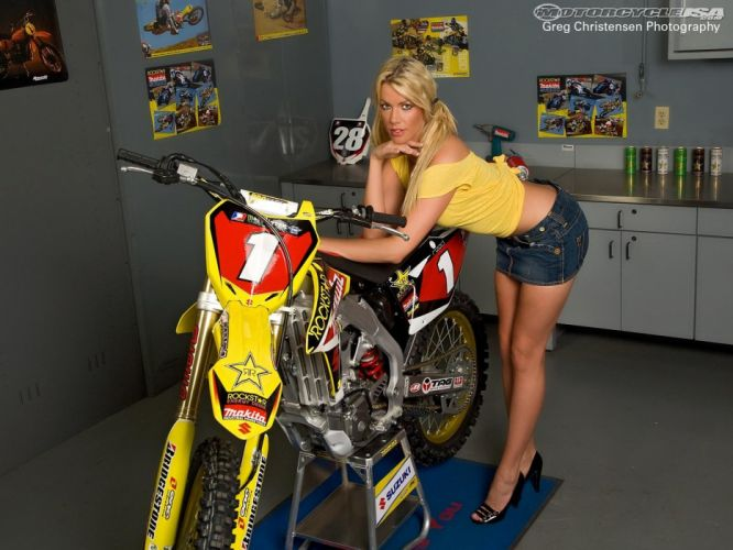 g motorbike bike motorcycle sexy babe blonde motocross moto dirtbike wallpaper