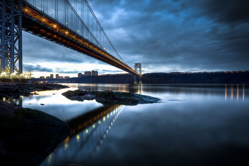 george washington bridge manhattan new jersey hudson river reflection wallpaper