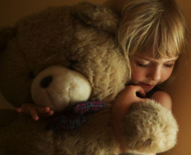 girl blonde hair face child teddy bear mood love child wallpaper