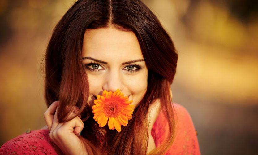 girl brown hair eyes mood wallpaper