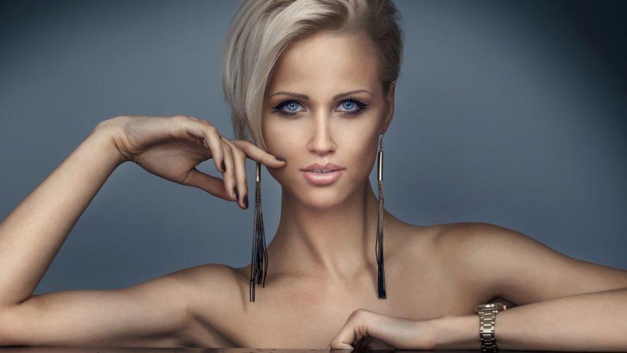 girl model look haircut earrings wallpaper