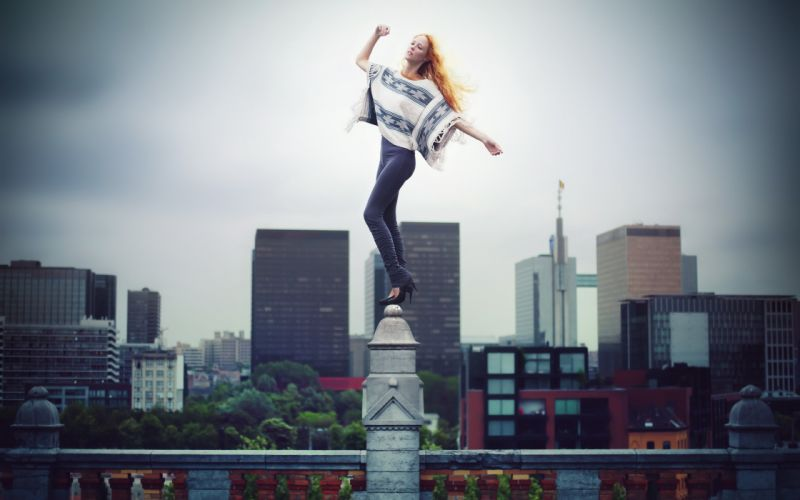 girl pose background model redhead city mood wallpaper