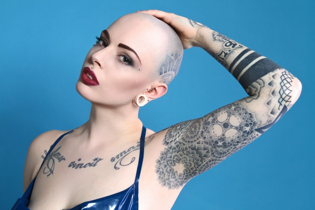 girl tattoo style gothic punk model wallpaper