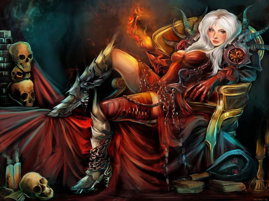Gothic Magic Skull Warrior Armor Throne Wearing boots Fantasy Girls wallpaper