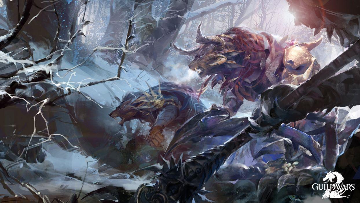Guild Wars 2 Battle Monster Games Fantasy warrior wallpaper