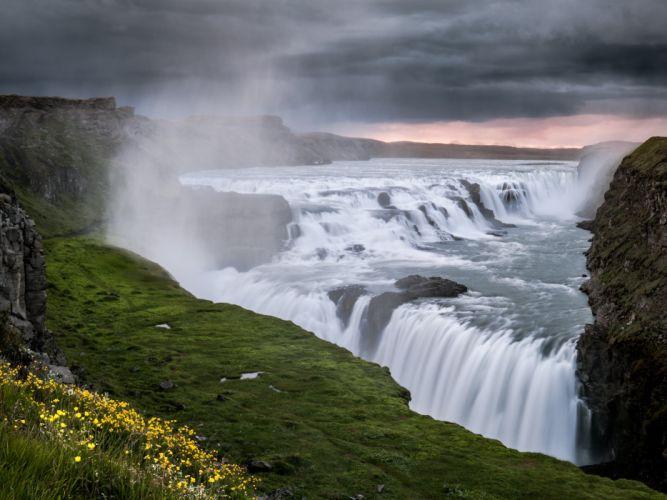 Gullfoss Iceland Hvitau river waterfall wallpaper